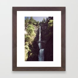 Multnomah Falls Waterfall - Nature Photography Framed Art Print