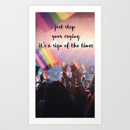 Harry Styles - rainbow flag Art Print