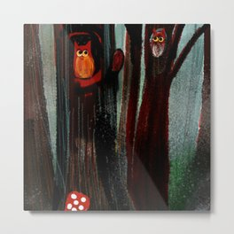 Owls In The Forest Metal Print