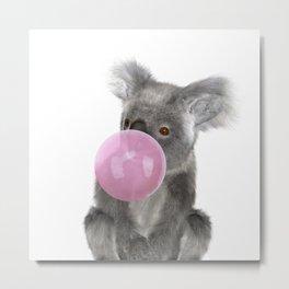 Bubble Gum - Koala Metal Print