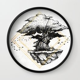 Lonely Tree Inktober :: The Air Seems Restless Wall Clock