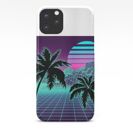 Retro 80s Vaporwave Sunset Sunrise With Outrun style grid print iPhone Case