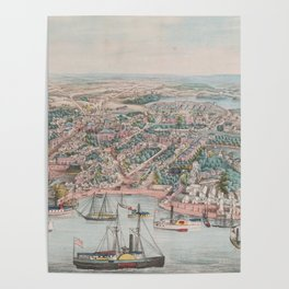 Vintage Pictorial Map of Annapolis MD (1864) Poster
