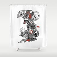 england Shower Curtains featuring England Doodle by Rebecca Bear