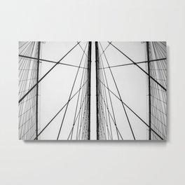 Brooklyn Bridge Cable Lines Metal Print