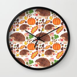 Autumn Hedgehog Wall Clock