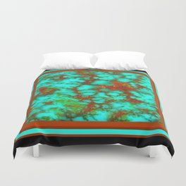 Black-Brown Turquoise December Birthstone Design. Duvet Cover