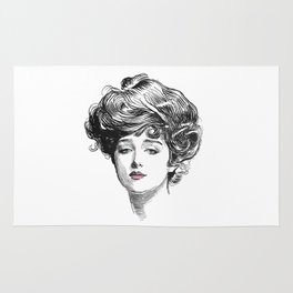 Gibson Girl with Green Eyes and Pink Lips Rug