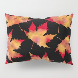 Maple leaves black Pillow Sham