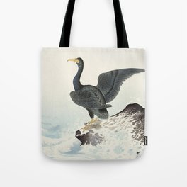 Cormorants at stormy sea - Japanese vintage woodblock print art Tote Bag