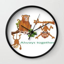 THREE MONKEYS TOGETHER AS FRIENDS T-SHIRT Wall Clock