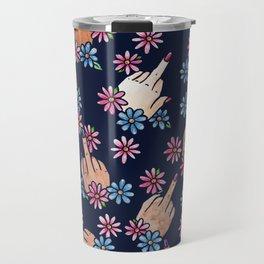 Middle Finger Floral Travel Mug