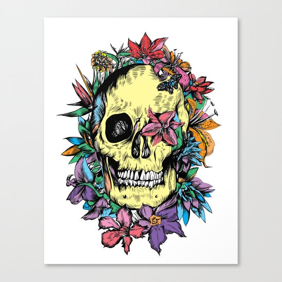 floral skull colorful drawing Canvas Print