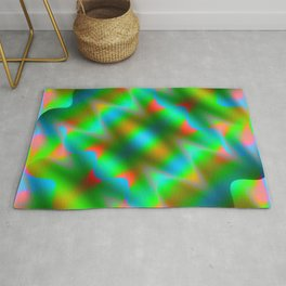 Bright pattern of blurry light blue and green flowers in a pastel kaleidoscope. Rug