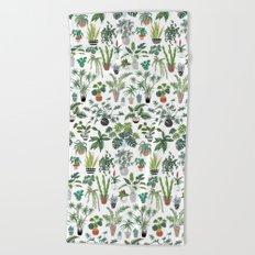 plants and pots pattern Beach Towel