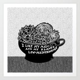 Lo-Maintenance Men & Cacti Black and White Trendy Illustration Art Print