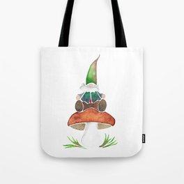 Gnome Sitting on a Mushroom Tote Bag