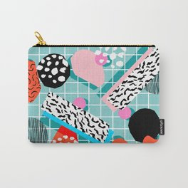 The 411 - wacka abstract memphis grid throwback retro cool neon 80s style minimal mixed media Carry-All Pouch