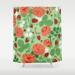 Roses and strawberries on green Shower Curtain