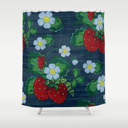 Strawberries and Daisies - Strawberry Patch  - Fruit Shower Curtain