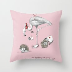 Flamingo Croquet Throw Pillow
