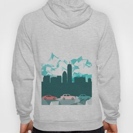 City, mountain and cars Hoody