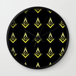 Square and Compasses – masonic, escauadera,compas,freemasonry, freemason. Wall Clock
