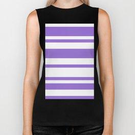 Mixed Horizontal Stripes - White and Dark Pastel Purple Biker Tank