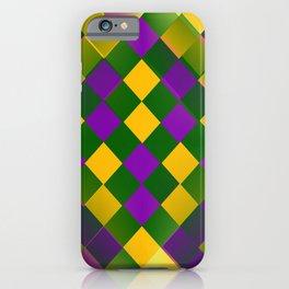 Harlequin Mardi Gras pattern iPhone Case