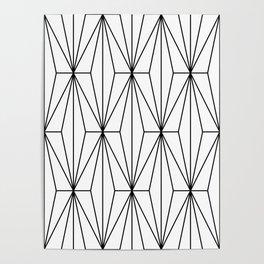 Black White Geometric Pattern Illustration Poster