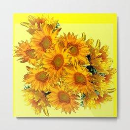 Yellow Sun Flowers Bouquet on Lemon Yellow Metal Print