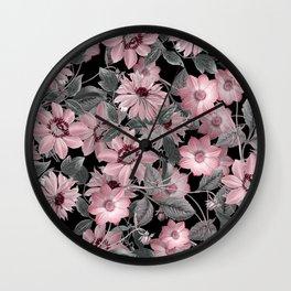 Nostalgic Floral Pattern On Black Wall Clock