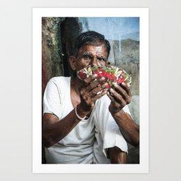 Man plays cards roadside in Jodhpur, India Art Print