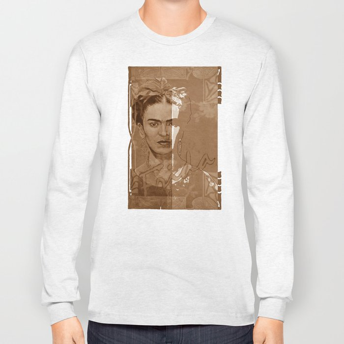 Frida Kahlo - between worlds - sepia Long Sleeve T-shirt