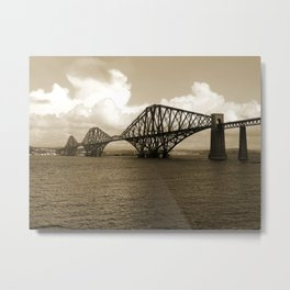 Forth Bridge, Scotland, in Sepia Metal Print