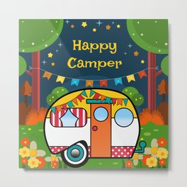 Happy Camper Retro RV Metal Print