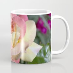 Pretty pink rose garden flower. Floral nature photography.   Mug