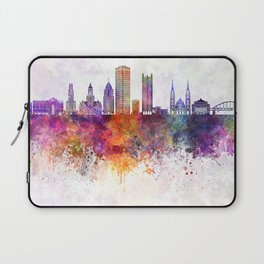 Pittsburgh V2 skyline in watercolor background Laptop Sleeve