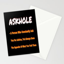ASKHOLE ORANGE Stationery Cards