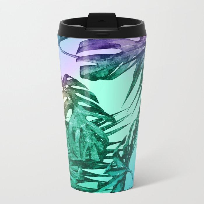 Simply Palm Leaves in Hologram Island Green Metal Travel Mug