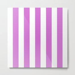 Deep mauve violet - solid color - white vertical lines pattern Metal Print
