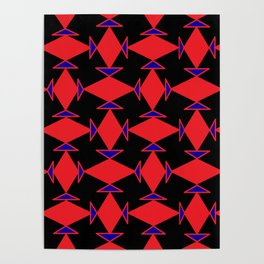 Diamond Squares Game Board Fish Faces Pattern Poster