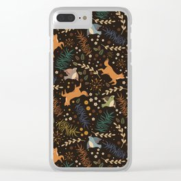 Autumn Woodsy Floral Forest Pattern With Foxes And Birds Clear iPhone Case