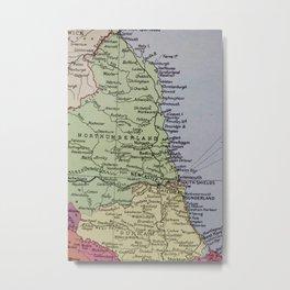 Vintage Map of Northumberland Metal Print