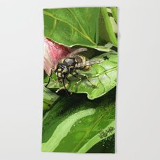Wasp on flower16 Beach Towel