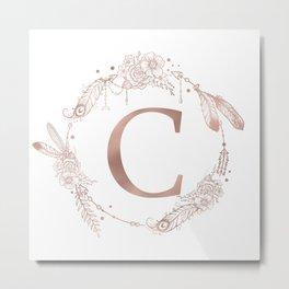 Letter C Rose Gold Pink Initial Monogram Metal Print