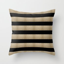 preppy contemporary minimalist great gatsby champagne black gold stripes Throw Pillow