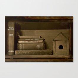 Rustic Bookshelf in Sepia Canvas Print