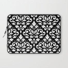 Scroll Damask Large Pattern White on Black Laptop Sleeve