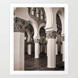 The Historic Arches in the Synagogue of Santa María la Blanca 5, Toledo Spain Art Print